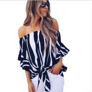 Boutique Striped Off The Shoulder Tie Front Blouse